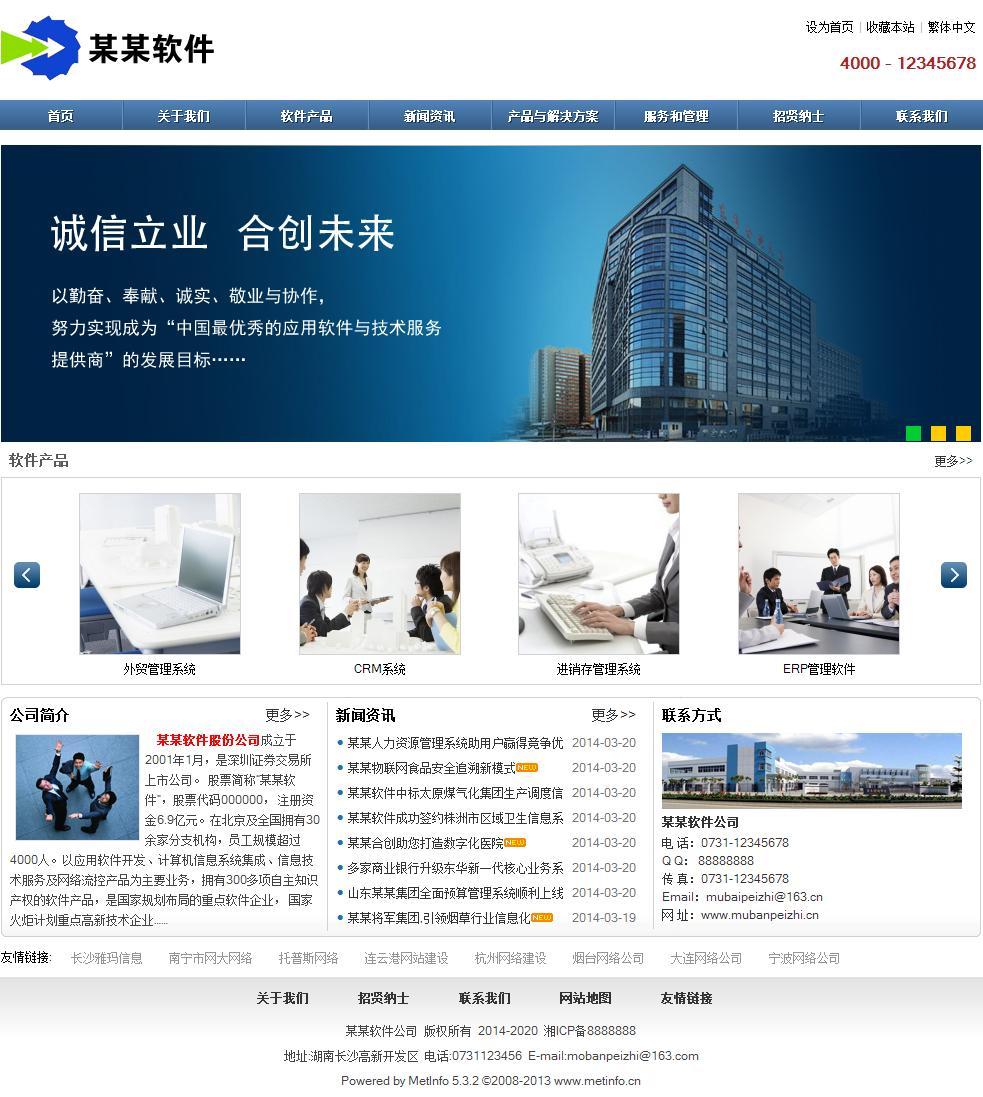 软件公司网站模板-整体效果