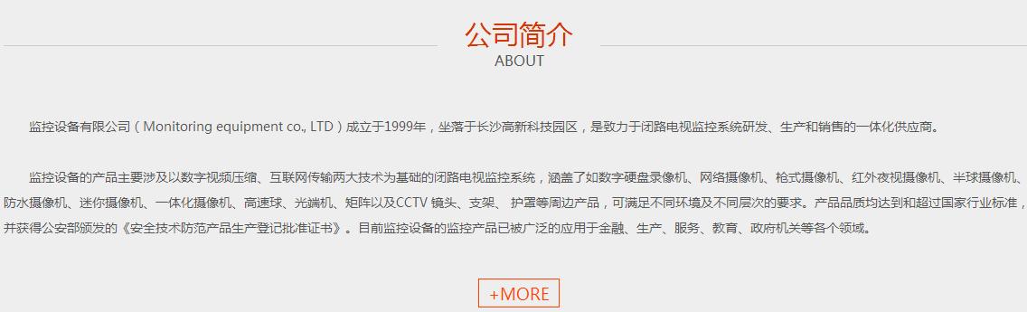 监控设备公司网站模板-公司简介